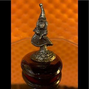 Pewter & Glass Gnome on a Mushroom Figurine